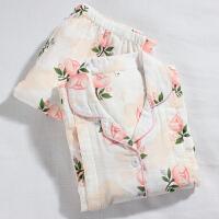 强烈月子服夏全棉纱布产后哺乳服长袖长裤孕妇睡衣套装 X