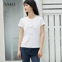 Amii[极简主义] 2017夏新圆领短袖卡通印花修身弹力T恤女简约修身