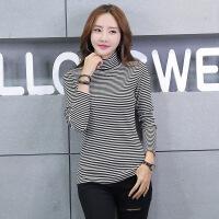卡茗语秋冬新款女装上衣 韩版高领条纹长袖t恤 女士打底衫