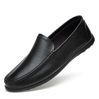 皮鞋男夏季新品乐福鞋豆豆鞋休闲鞋头层牛皮低帮懒人驾车鞋英伦风潮流青年男士鞋