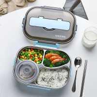 不锈钢便当饭盒小学生分格餐盘上班族防烫保温儿童分隔型餐盒套装
