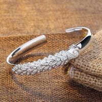 银手镯9999银 女 简约实心开口银手环 刻字母亲老婆礼物