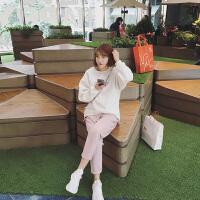 �莱秋冬冬季新款韩版学生范简约圆领套头宽松加绒卫衣女外套