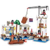 小鲁班积木加勒比海盗船 海贼王袭击皇家港口码头儿童拼装积木