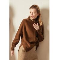 秋冬高领羊毛衫女士套头针织打底衫复古加厚短款慵懒宽松气质毛衣