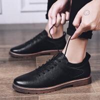 皮鞋男韩版潮流潮鞋百搭青年男士休闲小皮鞋黑色鞋春款透气男板鞋夏季百搭鞋