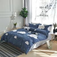 床上用品纯棉四件套全棉斜纹印花小清新床品套件 四件套 被套200*230床单230*250枕