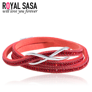 皇家莎莎饰品PU皮质手链手环女欧美潮流简约学生多层手绳生日礼物