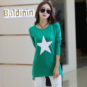 卡茗语秋冬新款女装t恤韩版中长款长袖t恤女士上衣不规则星星款