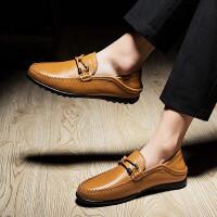 男士商务正装皮鞋青年办公室无鞋带驾车鞋中年爸爸鞋豆豆鞋大码45-47