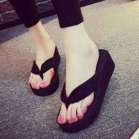 黑色高跟人字拖女夏坡跟韩版时尚外穿拖鞋厚底夹脚女士凉拖鞋 928黑色 36 (适合35码脚)