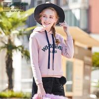 香影印花卫衣 2017冬装新款女装字母印花连帽长袖外衣韩版显瘦潮
