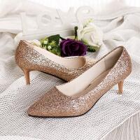 银色亮片高跟鞋女2019新款百搭春季渐变色婚鞋女 伴娘高跟鞋细跟 金色 【6cm】
