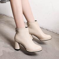 女鞋2019新款短靴子秋冬英伦时装靴粗跟高跟鞋皮面显瘦裸靴及踝靴