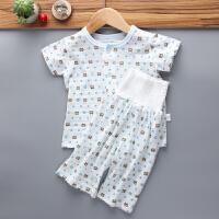 婴幼儿夏季薄款纯棉睡衣儿童家居服套装宝宝短袖背心护肚子高腰裤 高腰款 蓝小熊