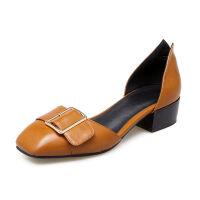 ELEISE美国艾蕾莎春季上新003-V173-1韩版中跟方跟中空女士单鞋