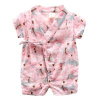婴儿爬爬服夏季女宝宝夏装连体衣哈衣棉纱短袖衣服新生儿和尚服男