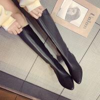 韩版冬季新款糖果色尖头阔腿靴马丁靴机车靴长靴弹力平底鞋女鞋潮