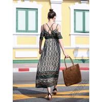 2018夏波西米亚连衣裙交叉露背长裙海边度假沙滩裙 图片色