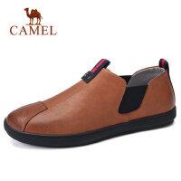 camel 骆驼男鞋春夏新款英伦柔软复古牛皮防滑休闲套脚皮鞋子