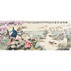当代花鸟画画家    唐圆方《百鸟归巢图》HN5233