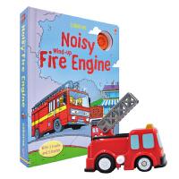 【首页抢券300-100】Usborne Noisy Wind-Up Fire Engine 轨道车书 消防车故事发声书