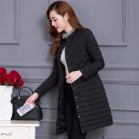 轻薄棉衣女中长款韩版修身棉袄2018新款冬季立领羽绒女士外套