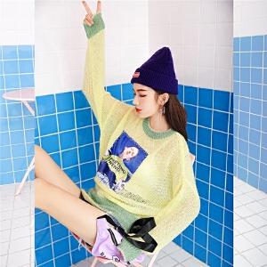 七格格拼接镂空针织衫秋女新款韩版宽松长袖毛衣chic打底罩衫