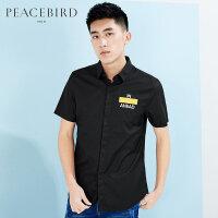 太平鸟男装 黑色男士衬衫夏季韩版修身短袖衬衫B2CC62553