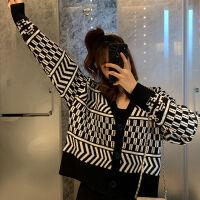 针织开衫外套女2019秋季格子毛衣女长袖外搭宽松上衣女 图片色
