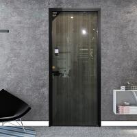 窄边框玻璃门北欧钛铝镁合金卫生间门厨房厕所平开门定做简钢化定制 现代款 拉丝玻璃款