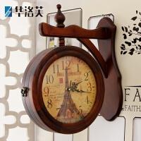 两面欧式实木壁挂钟 创意经典木质客厅时钟 石英双面钟表 两面钟J