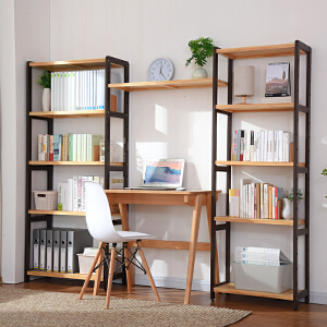 御目  书架 简约现代创意多层松木置物收纳储物架子客厅落地书柜子满额减限时抢家具用品