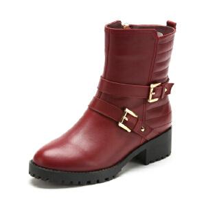 菲伯丽尔Fondberyl牛皮圆头低跟拉链皮带装饰深口女鞋FB44118837