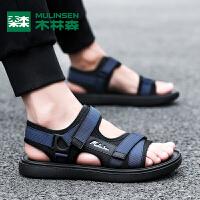 木林森男鞋夏季新款潮流百搭时尚魔术贴休闲运动沙滩鞋男士凉鞋男