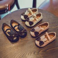 春秋季儿童鞋子兔耳朵蝴蝶女童皮鞋宝宝公主单鞋