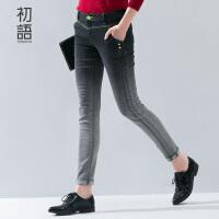 初语冬新款牛仔裤 修身显瘦裤子黑灰渐变色牛仔铅笔裤潮女 8541815007