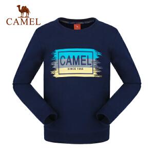 camel/骆驼童装秋季儿童微弹印花卫衣男女童套头打底T恤