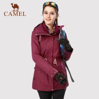 【范冰冰同款】camel 骆驼女装户外冲锋衣 双面抓绒内胆防风防水工装外套