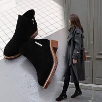 2019新款侧拉链女时尚英伦风绒面粗跟切尔西靴子短靴女鞋冬季加绒