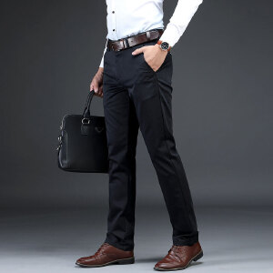 男士休闲长裤舒适天丝棉微弹商务休闲裤中腰直筒男装春秋裤子