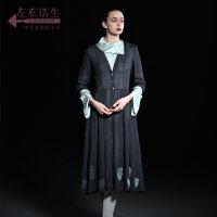 生活在左2018秋季女装长袖气质名媛宽松棉麻绣花连衣裙中长款裙子
