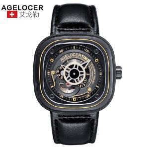 agelocer艾戈勒 瑞士进口品牌手表 男士皮带防水大表盘运动时尚潮流男表自动机械表男1