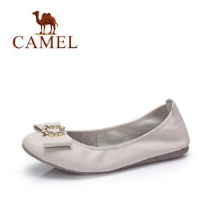 Camel/骆驼女鞋 2017春季新款 时尚舒适平底鞋 蝴蝶结单鞋女