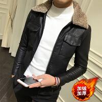 韩版冬装潮男棉衣羊羔毛领皮衣袄子短款青年精神小伙加绒外套
