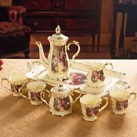 欧式咖啡茶具摆件奢华陶瓷咖啡具茶几装饰带托盘套装创意乔迁*