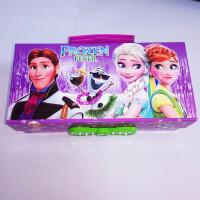 铅笔盒密码锁带镜子三层冰雪奇缘 公主文具盒男女多功能笔盒