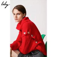 Lily春新款女装可拆卸高领宽松镂空毛衣毛针织衫118420B8730
