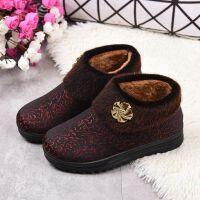 老人鞋女冬季棉鞋靴子女短筒加绒软底防滑妈妈鞋一脚蹬老奶奶鞋