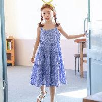 夏季新品韩版童装女童吊带裙儿童沙滩裙青花瓷长裙